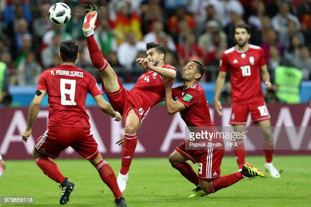 Saeid Ezatolahi of Iran clears the ball during the 2018 FIFA World Cup Russia group B match between Iran and Spain at Kazan Arena on June 20, 2018 in...