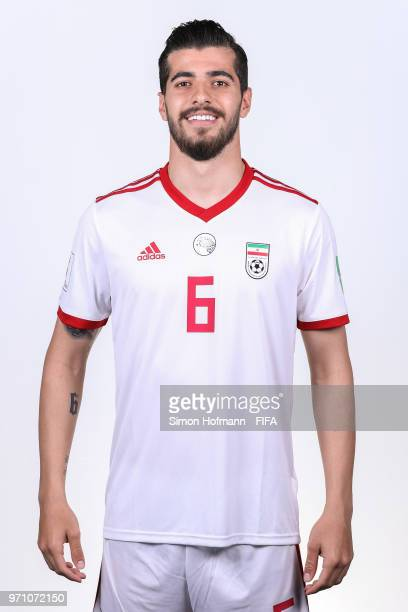 Saeid Ezatolahi of Iran poses during the official FIFA World Cup 2018 portrait session at Bakovka Training Base on June 9 2018 in Moscow Russia
