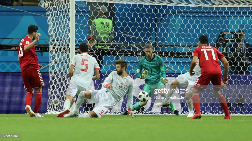Saeid Ezatolahi of Iran scores a goal that will be disallowed due to offside during the 2018 FIFA World Cup Russia group B match between Iran and Spain at Kazan Arena on June 20, 2018 in Kazan, Russia.