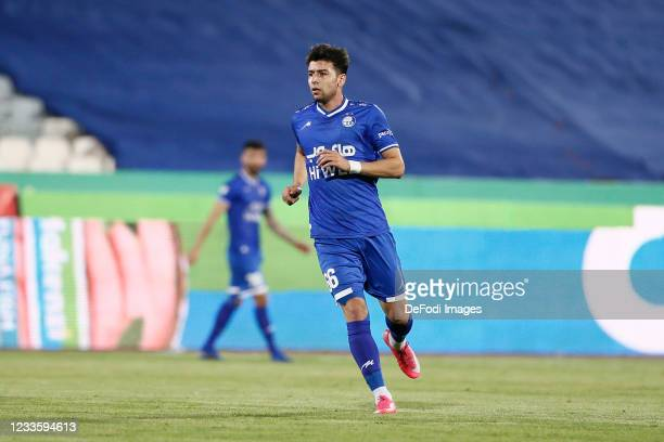 Saeid Mehri of Esteghlal looks on during the Persian Gulf Pro League match between Esteghlal and Padideh FC at Azadi Stadium on June 21, 2021 in...