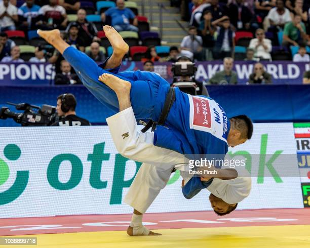 Saeid Mollaei of Iran throws Sotaro Fujiwara of Japan for an ippon to win the u81kg gold medal during day four of the 2018 Judo World Championships...