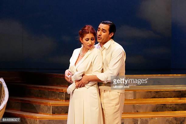 Saenger Aurelia Florian als Magda und Charles Castronovo als Ruggero am bei der Fotoprobe zur Oper LA RONDINE von Giacomo Puccini in der Inszenierung...