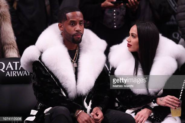 Safaree Samuels and Erica Mena attend the game between the Utah Jazz and the Brooklyn Nets at Barclays Center on November 28 2018 in the Brooklyn...