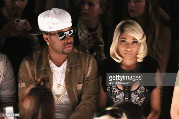 Safaree Samuels and Nicki Minaj attend the Herve Leger By Max Azria fashion show during MercedesBenz Fashion Week Spring 2014 at The Theatre at...