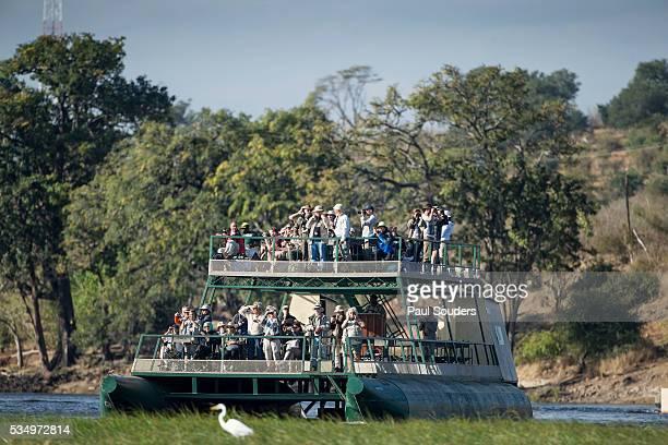 Safari Barge on River, Chobe National Park, Botswana