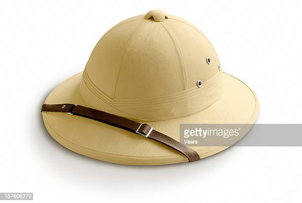 safari helmet - colonialism stock photos and pictures