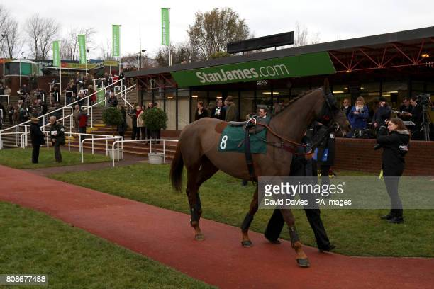 Safari Journey is lead around the parade ring before the Jenny Mould Memorial Handicap Chase