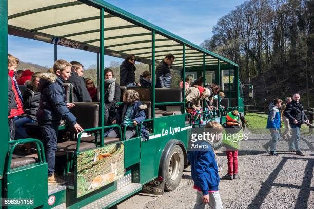 Safari train with visitors in wildlife park at the Domain of the Caves of Han HansurLesse Belgian Ardennes Belgium