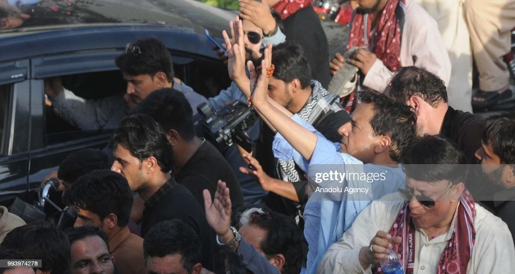 Safdar Awan the son in law of former Pakistani Prime Minister Nawaz Sharif greets the supporters of Pakistan Muslim League Nawaz of Sharif prior to...