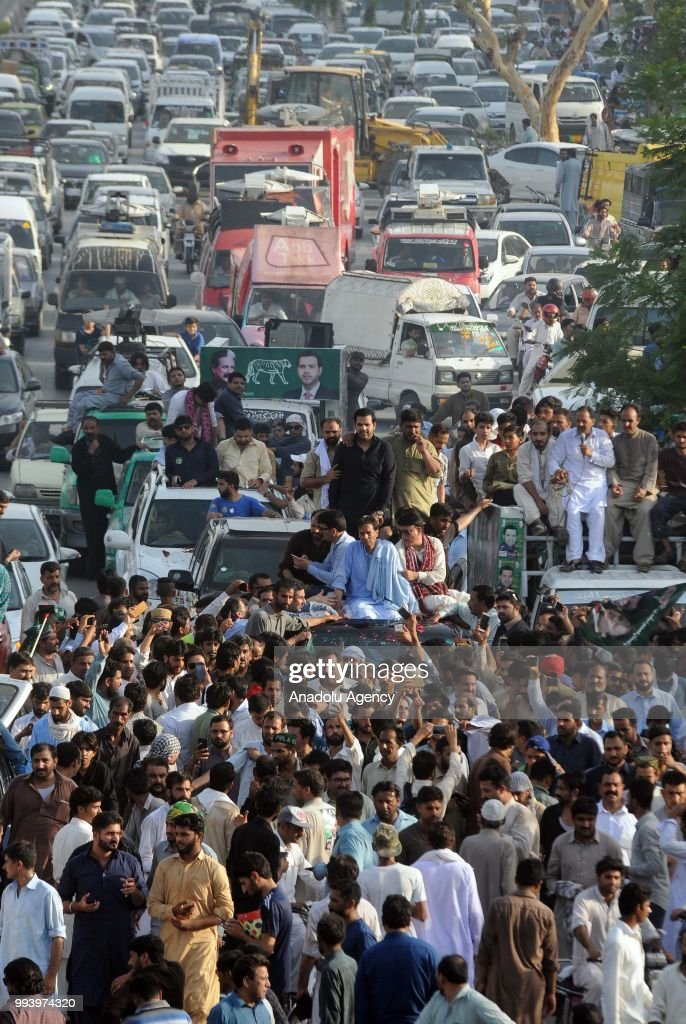 Safdar Awan the son in law of former Pakistani Prime Minister Nawaz Sharif rides on a vehicle during a protest rally of the supporters of Pakistan...