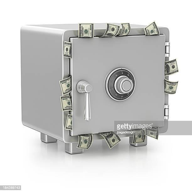Un coffre-fort et dollars