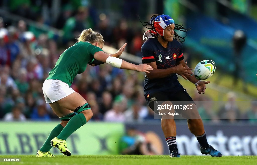 Safe N'Diaye of France passes the ball during the Women's Rugby World Cup Pool C match between France and Ireland at UCD Bowl on August 17, 2017 in Dublin, Ireland.