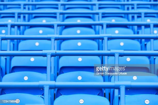 Safe standing rail seats seen before the Premier League match between Manchester City and Norwich City at Etihad Stadium on August 21, 2021 in...