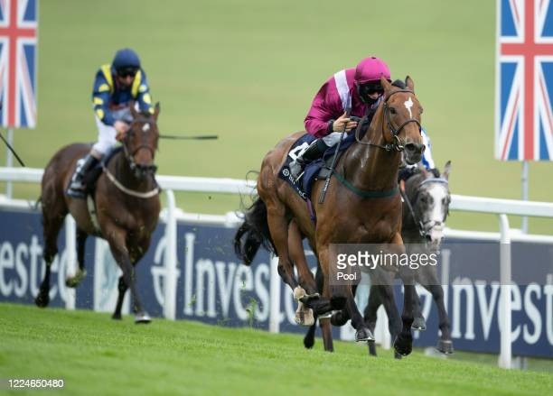 Safe Voyage wins the Investec Surrey Stakes at Epsom Racecourse on July 04, 2020 in Epsom, England. The famous race meeting will be held behind...