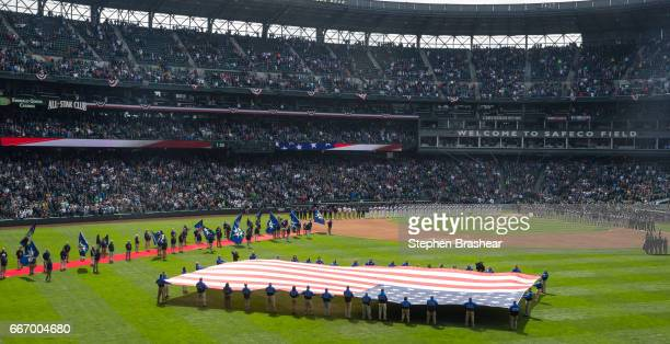 Safeco Field is pictured during opening day ceremonies before a game between the Seattle Mariners and the Houston Astros on April 10 2017 in Seattle...