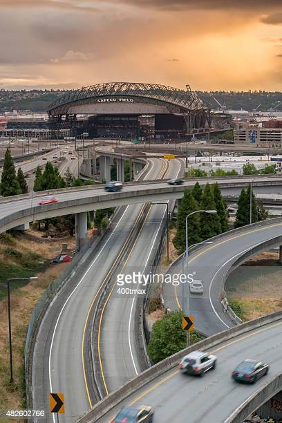 safeco field sunset - baseball trajectory stock pictures, royalty-free photos & images