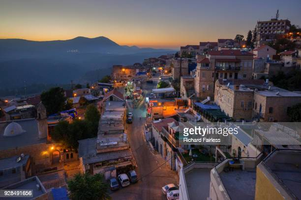 safed at dusk - safed stock photos and pictures