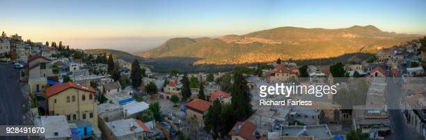 safed panorama at dawn - safed stock photos and pictures