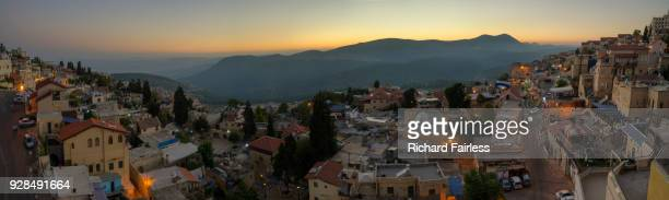 safed panorama at dusk - safed stock photos and pictures