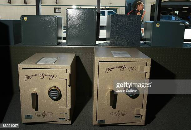 Safes are displayed at Warman Security October 13 2008 in San Francisco California As banks across the US fail and the economy falters sales of safes...