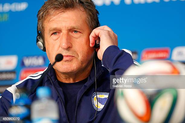 Safet Susic coach of Bosnia and Herzegovina national football team listens to the media questions in a press conference during the 2014 FIFA World...