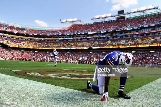 Safety Aaron Williams of the Buffalo Bills has a moment to himself before playing the Washington Redskins during a preseason game at FedExField on...