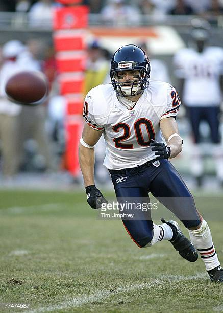 Safety Adam Archuleta of the Chicago Bears defends in a game against the Kansas City Chiefs at Soldier Field on September 16 2007 in Chicago Illinois...