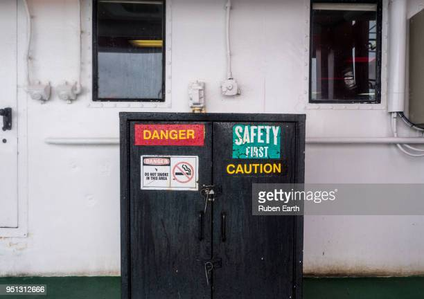 Safety and danger signs on a vessel