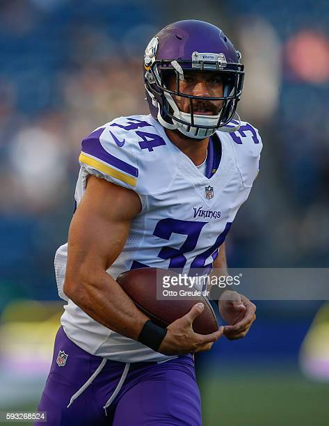 Safety Andrew Sendejo of the Minnesota Vikings warms up prior to the game against the Seattle Seahawks at CenturyLink Field on August 18 2016 in...