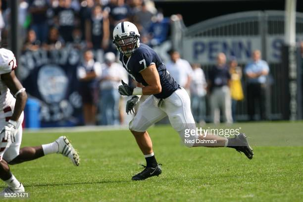 Safety Anthony Scirrotto of the Penn State Nittany Lions defends against the University of Temple Owls at Beaver Stadium on September 20 2008 in...