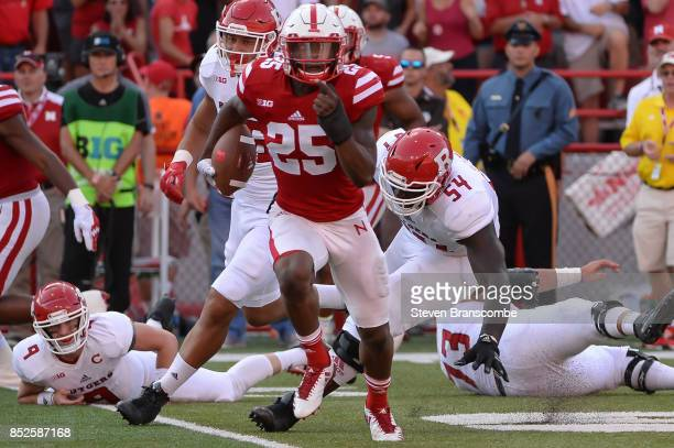 Safety Antonio Reed of the Nebraska Cornhuskers intercepts against the Rutgers Scarlet Knights at Memorial Stadium on September 23 2017 in Lincoln...