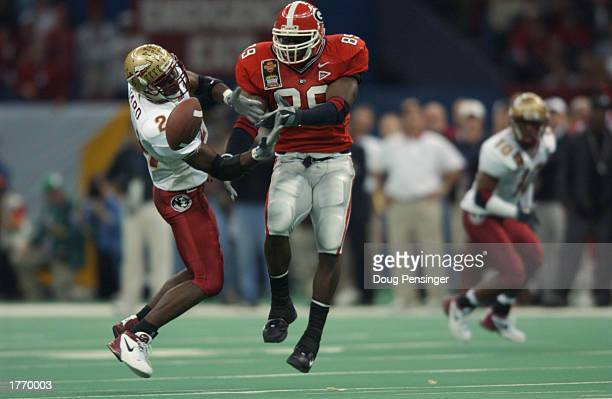 Safety BJ Ward of the Florida State University Seminoles breaks up a pass to tight end Benjamin Watson of University of Georgia Bulldogs during the...