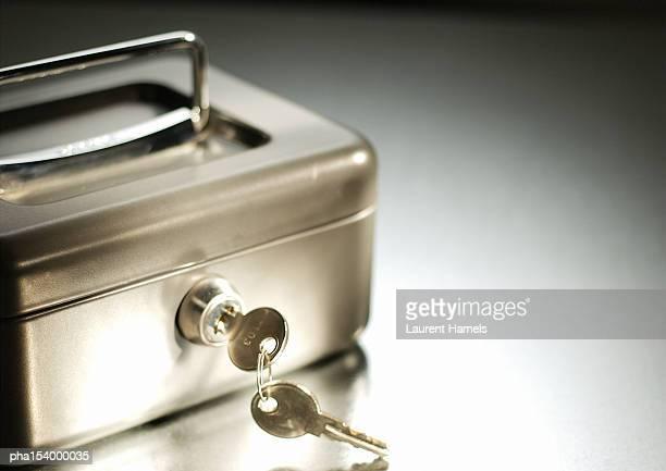 Safety box and keys, close-up.