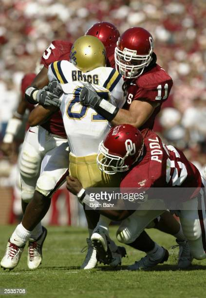 Safety Brodney Pool linebacker Teddy Lehman and defensive back Darren Stephens of the University of Oklahoma Sooners gang up on wide receiver Craig...