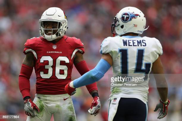 Safety Budda Baker of the Arizona Cardinals lines up with wide receiver Eric Weems of the Tennessee Titans during the NFL game at the University of...