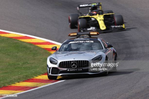 Safety car drives ahead of Renault's French driver Esteban Ocon following a crash of Alfa Romeo's Italian driver Antonio Giovinazzi and Williams'...