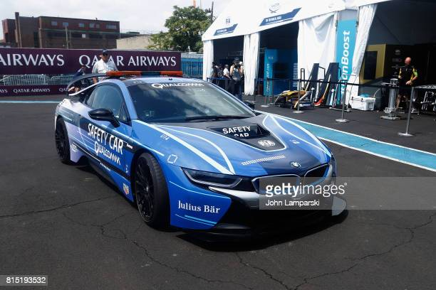 A safety car is seen in the pits during the Formula E Qualcomm New York City ePrix on July 15 2017 in New York City