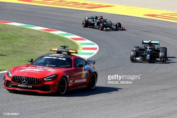 Safety car leads the Formula One cars during the Tuscany Formula One Grand Prix at the Mugello circuit in Scarperia e San Piero on September 13 2020