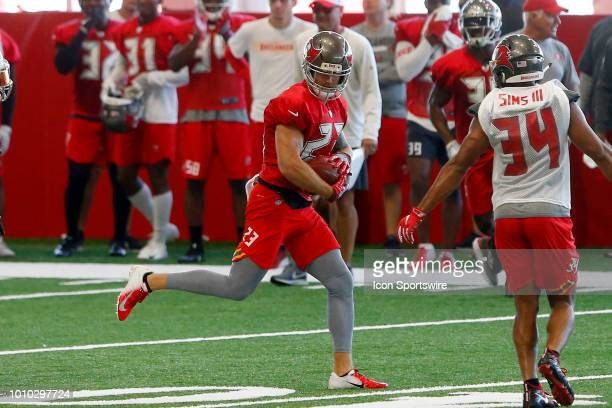 Safety Chris Conte intercepts a pass during the Tampa Bay Buccaneers Training Camp on August 02 2018 at One Buccaneer Place in Tampa Florida
