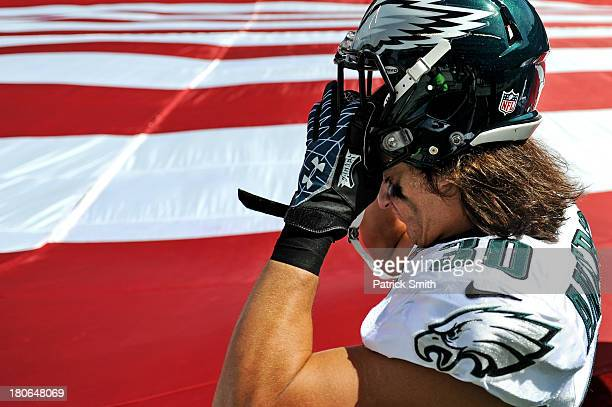 Safety Colt Anderson of the Philadelphia Eagles puts on his helmet before playing the San Diego Chargers at Lincoln Financial Field on September 15...