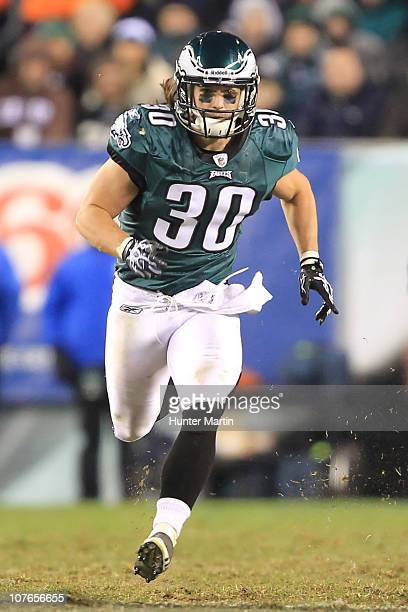 Safety Colt Anderson of the Philadelphia Eagles runs downfield on special team coverage during a game against the Houston Texans at Lincoln Financial...