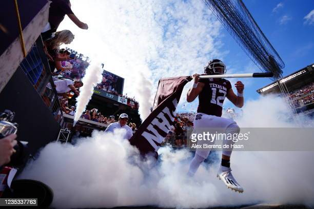 Safety Connor Choate of the Texas A&M Aggies runs out of the tunnel pregame before the game against New Mexico Lobos at Kyle Field on September 18,...