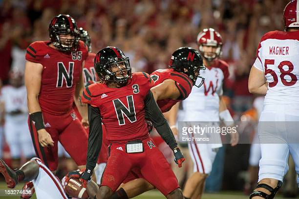 Safety Daimion Stafford of the Nebraska Cornhuskers celebrates after tackling running back Montee Ball of the Wisconsin Badgers during their game at...