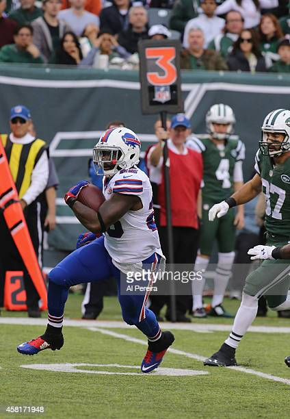 Safety Da'Norris Searcy of the Buffalo Bills Intercepts the ball against the New York Jets at MetLife Stadium on October 26 2014 in East Rutherford...