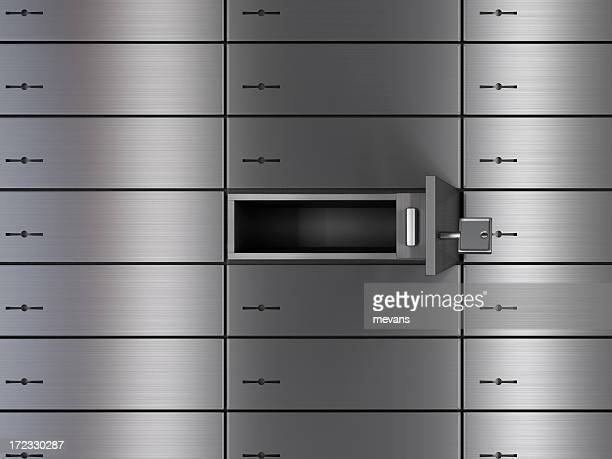 Safety deposit boxes hidden behind rainbow colors