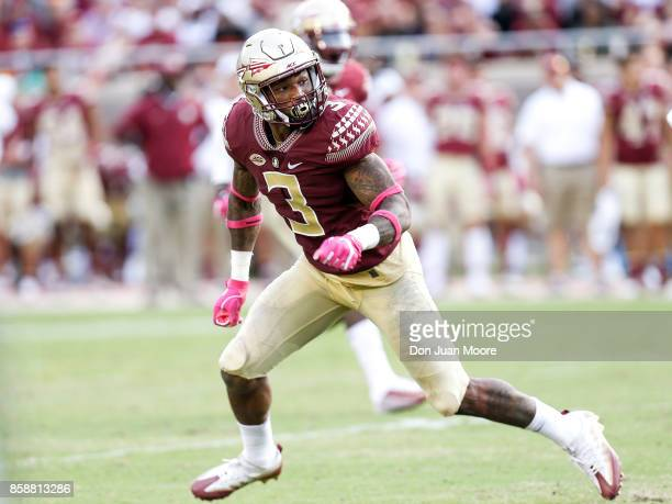 Safety Derwin James of the Florida State Seminoles during the game against the Miami Hurricanes at Doak Campbell Stadium on Bobby Bowden Field on...