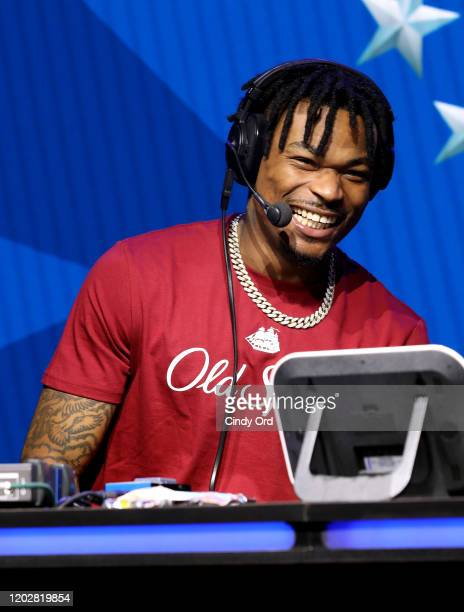 Safety Derwin James of the Los Angeles Chargers speaks on stage during day one with SiriusXM at Super Bowl LIV on January 29, 2020 in Miami, Florida.