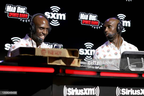 NFL safety Devin McCourty and NFL cornerback Jason McCourty of the New England Patriots speak onstage during day 2 of SiriusXM at Super Bowl LIV on...
