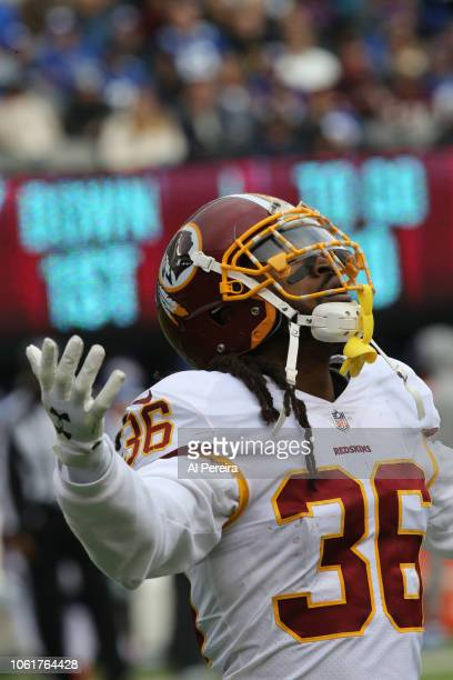 Safety DJ Swearinger of the Washington Redskins has the second of two Interceptions against the New York Giants during their game at MetLife Stadium...