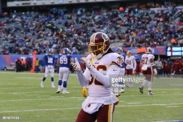 Safety DJ Swearinger of the Washington Redskins in action against the New York Giants at MetLife Stadium on December 31 2017 in East Rutherford New...